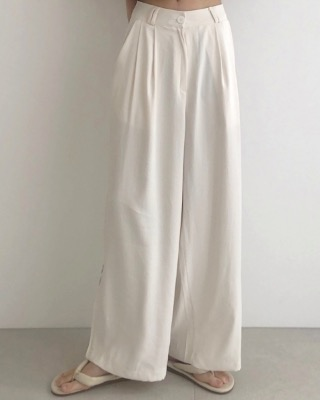 Side zipper wide slacks, ivory
