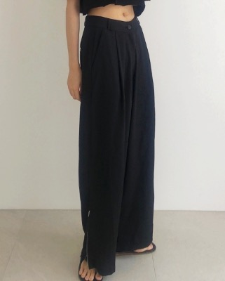 Side zipper wide slacks, black