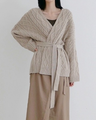 cable knit cardigan (3color)