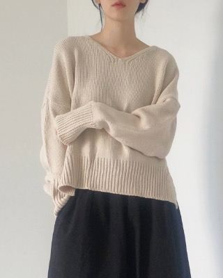 baguette v-neck knit (5color)