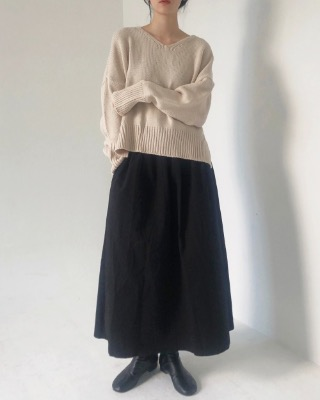 flare cotton banding skirt (2color)