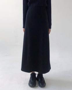 span knit long skirt (2color)