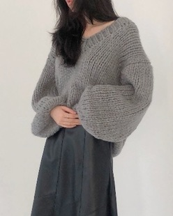 hand made pure knit, gray