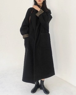 mood robe long coat, black