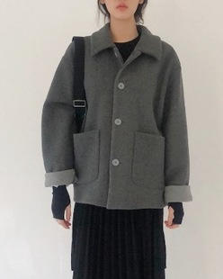 vivid collar jacket, gray
