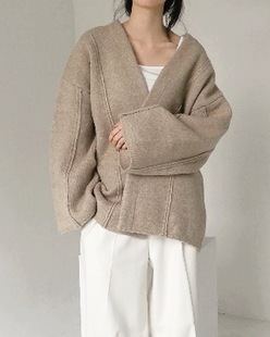 wide wool cardigan, beige