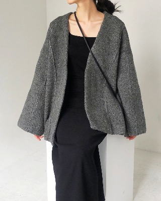 wide wool cardigan, darkgray