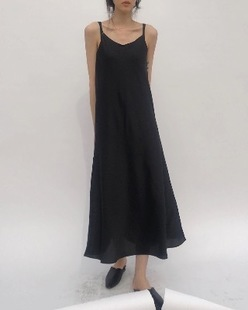 Satin sleveless flare dress, black