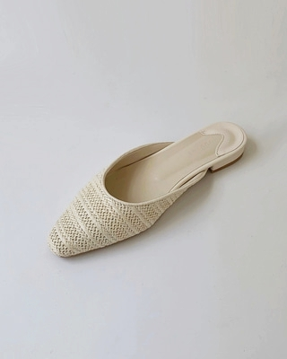 Rattan bloafer,ivory