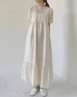 Embroidery dress, beige