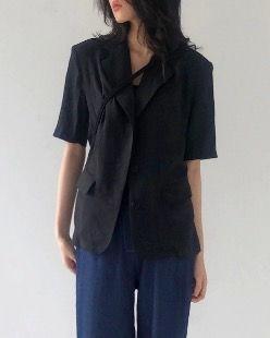 Dily linen jacket, black