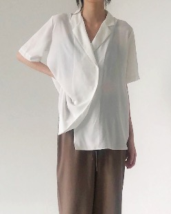 Satin loose shirt (2color)