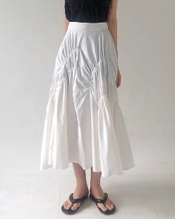 Stella shirring skirt, white