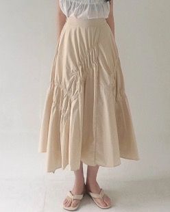 Stella shirring skirt, beige