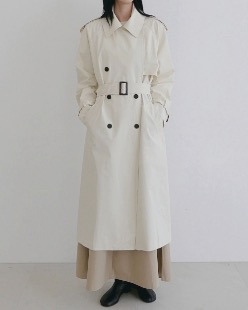 maxi cotton trench coat, ivory