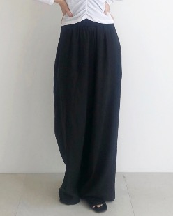 Banding linen pants, black