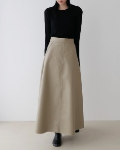 leather long skirt, beige