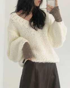 hand made pure knit, ivory