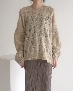 mohair loose fit cable knit (2color)