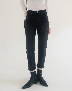 slim fit black denim pants