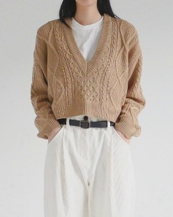 daily crop v-neck cable knit (3color)