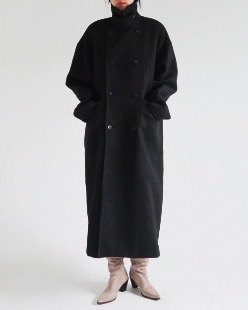 double button wool long coat (3color)