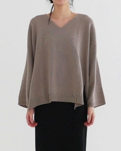 whole garment v-neck knit (3color)