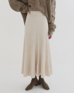 natural knit long skirt (2color)