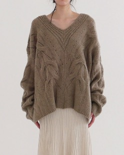 natural overfit deep neck knit (3color)