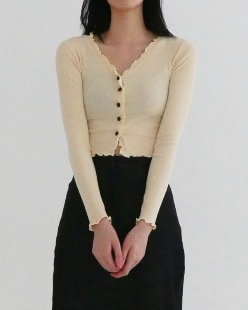 mini frill cardigan (4color)