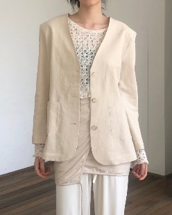 non collar linen jacket (2color)