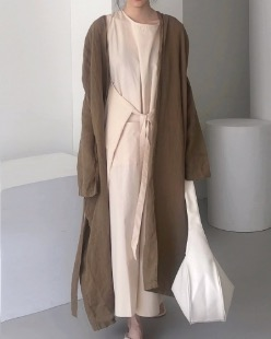 robe linen long cardigan (2color)