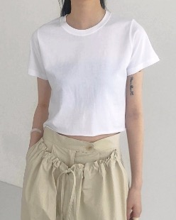 cutting cropped tee (3color)