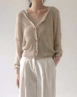 wood button knit cardigan (4color)