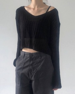 cropped v-neck knit (3color)