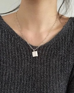 chain square necklace (2color)