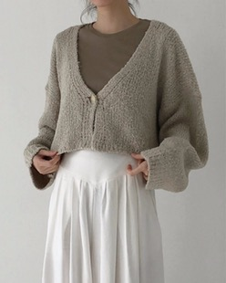 one button cropped cardigan (2color)