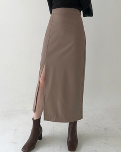 moi deep slit skirt (2color)