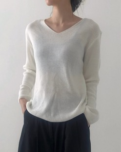 basic v-neck knit (3color)