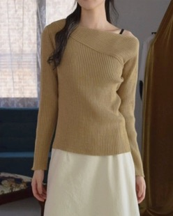 unbalance off neck knit (4color)