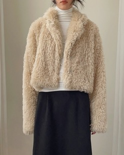 plain fur jacket (2color)