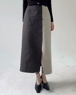 two tone cotton skirt (2color)
