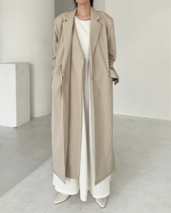 cotton strap long jacket (2color)