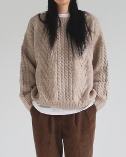easy fisherman wool knit (3color)