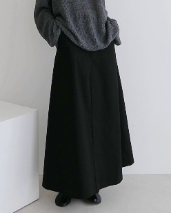 dry cotton maxi skirt, black